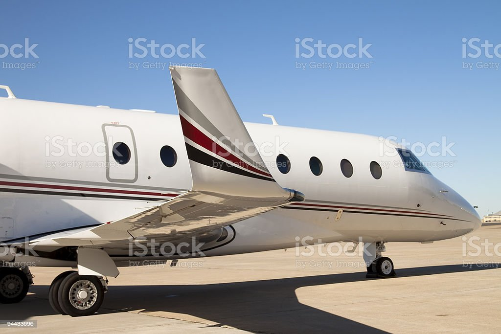 Private Jet Parked And Waiting XL royalty-free stock photo
