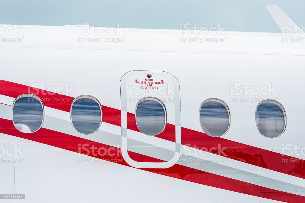 Private Jet plane windows stock photo