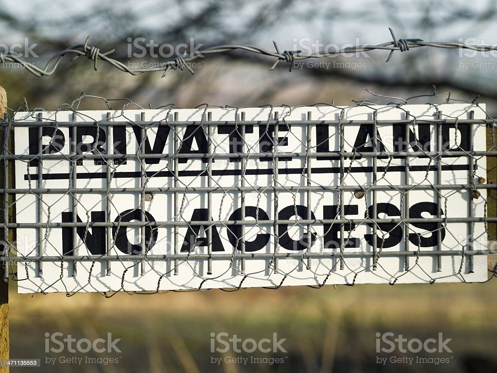 Private land sign stock photo