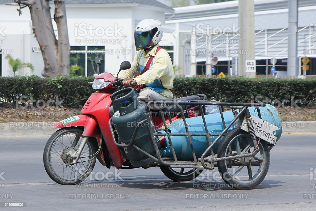 Private Motorcycle for delivery gas stock photo