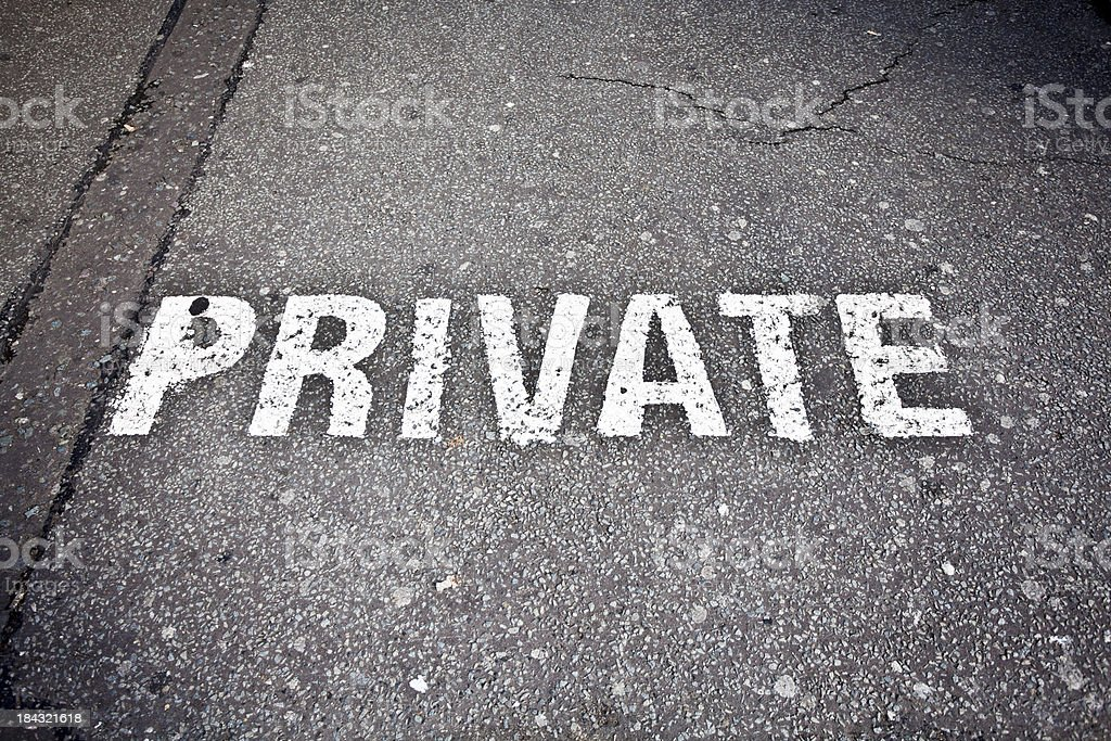 Private Parking, Road Sign on Asphalt stock photo