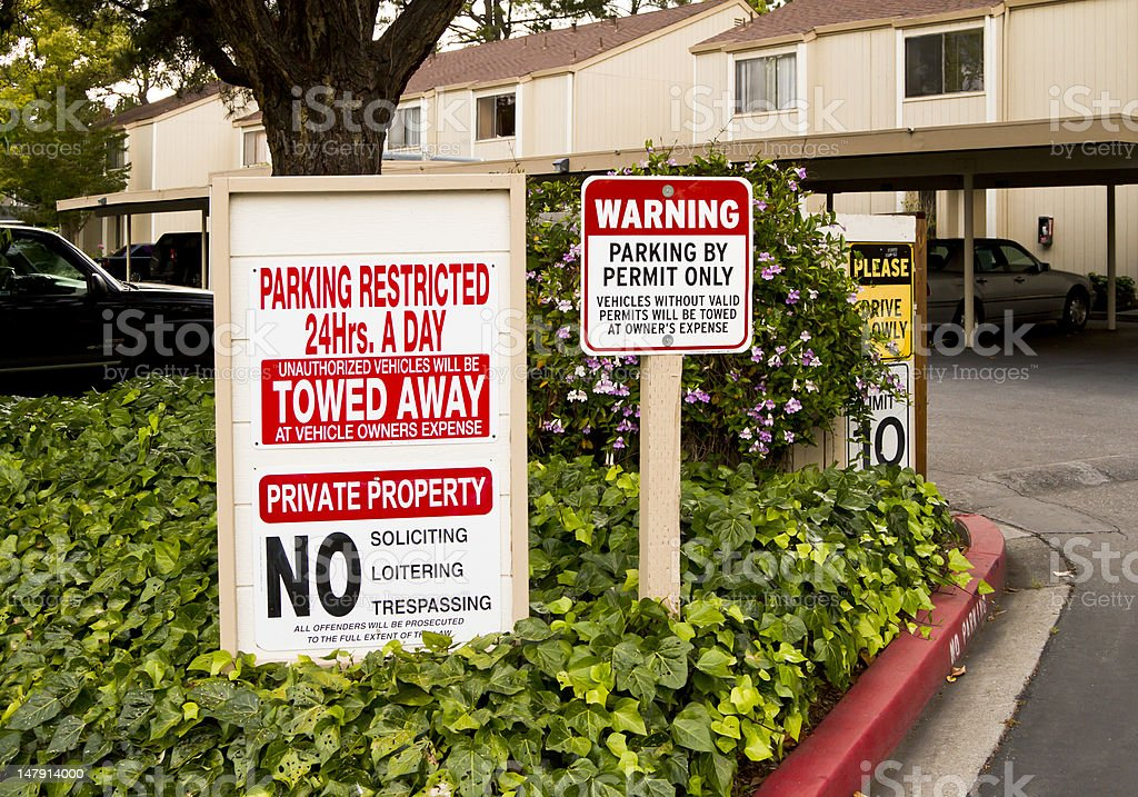 Private parking signs stock photo