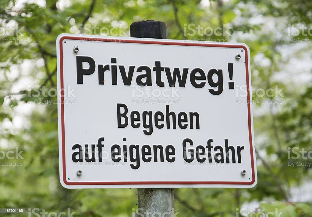 Private Path sign in German(y). royalty-free stock photo