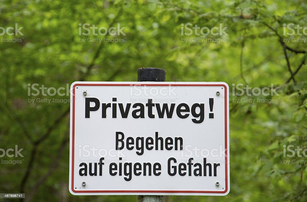 Private Path sign in Germany. royalty-free stock photo