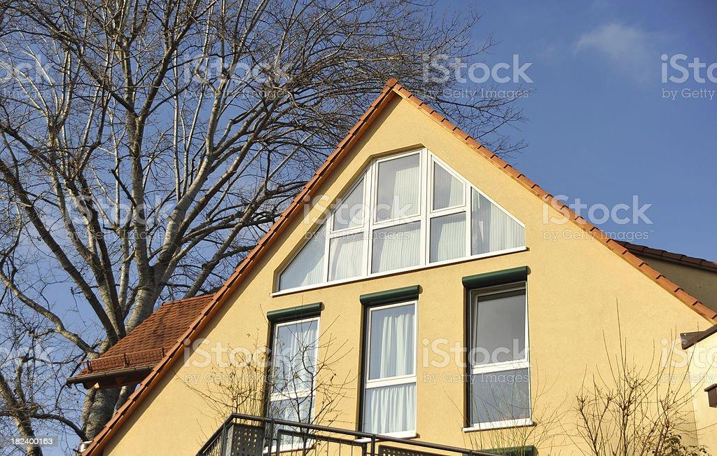 private pediment family home stock photo