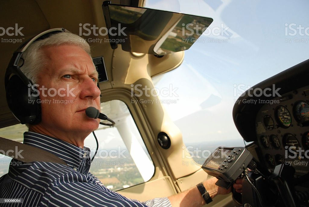 Private Pilot Flying a Small Airplane stock photo