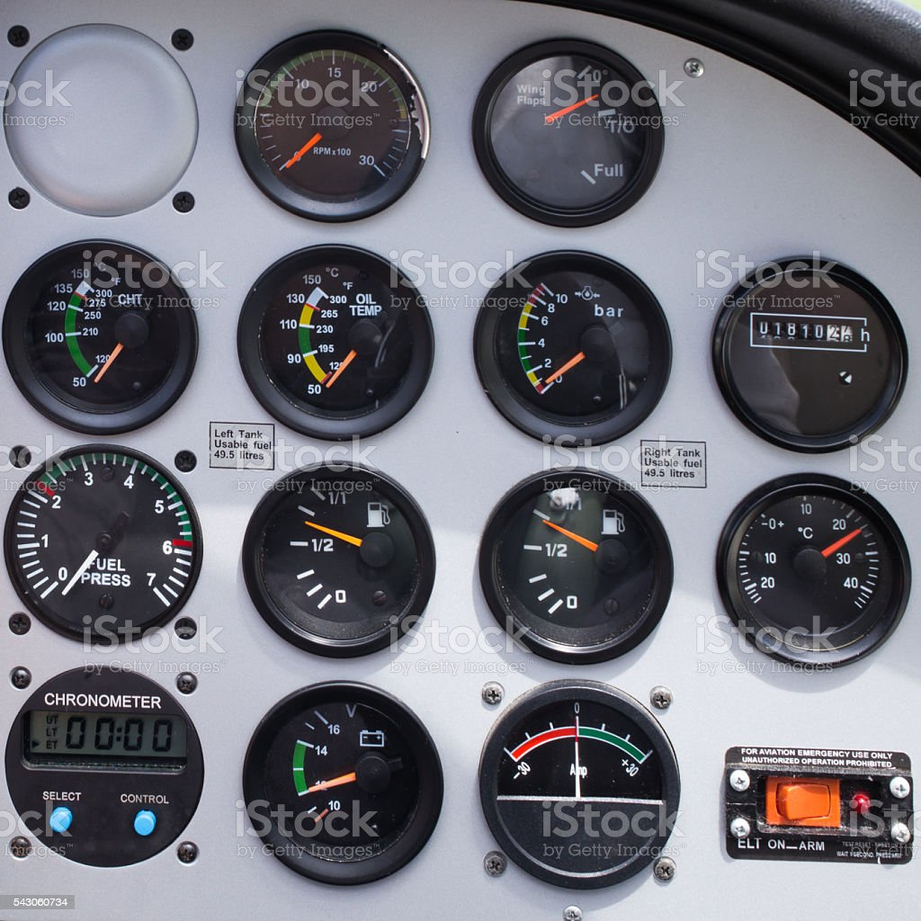 Private plane dashboard stock photo