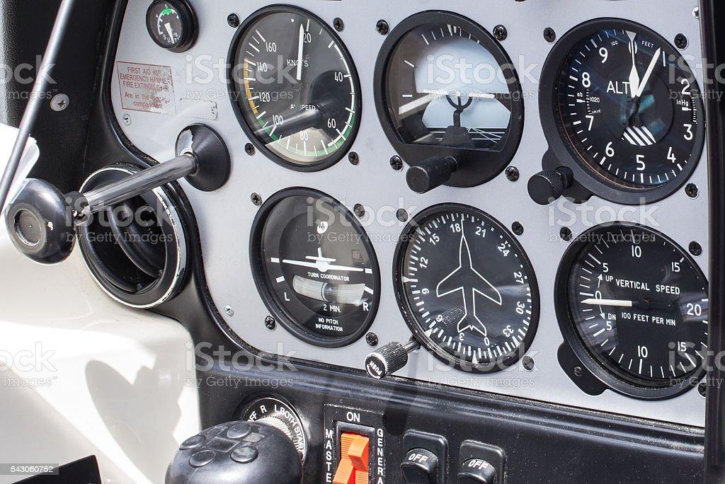Private plane dashboard stock photo