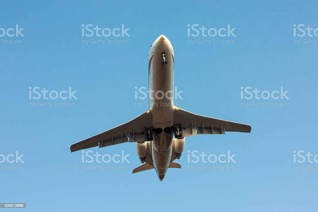 Private plane landing royalty-free stock photo