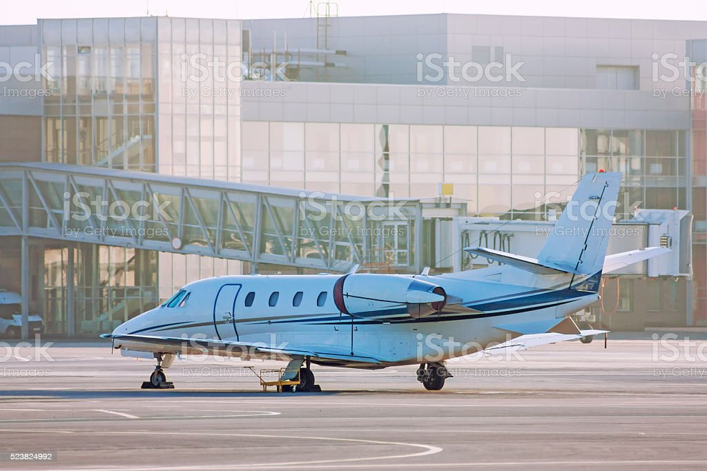 Private plane on the airport apron royalty-free stock photo