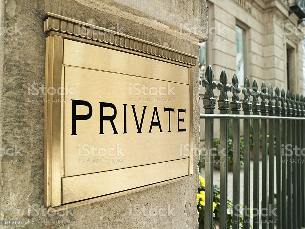 Private plaque on an important building royalty-free stock photo