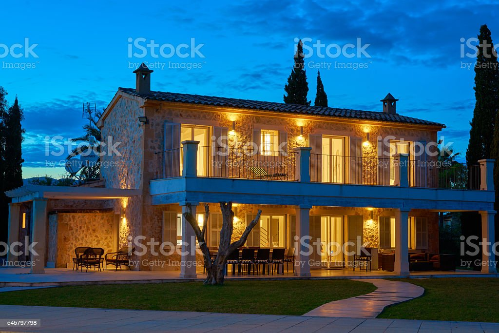 private property at night stock photo