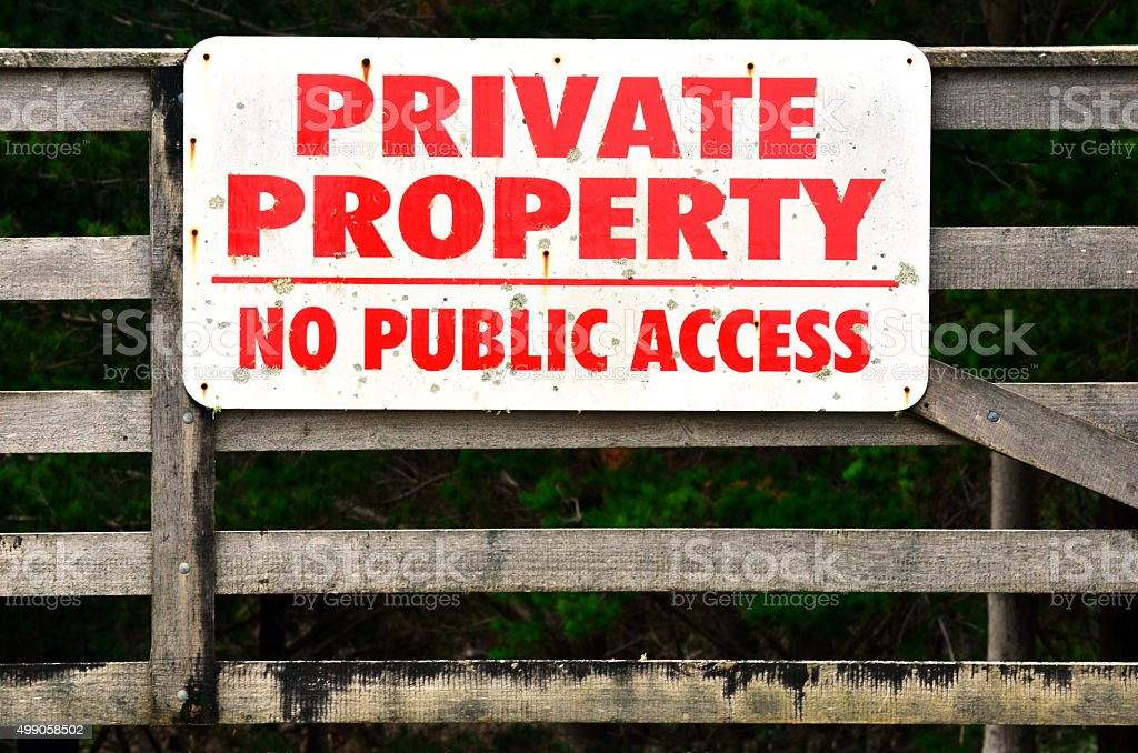 Private Property No Public Access Sign stock photo