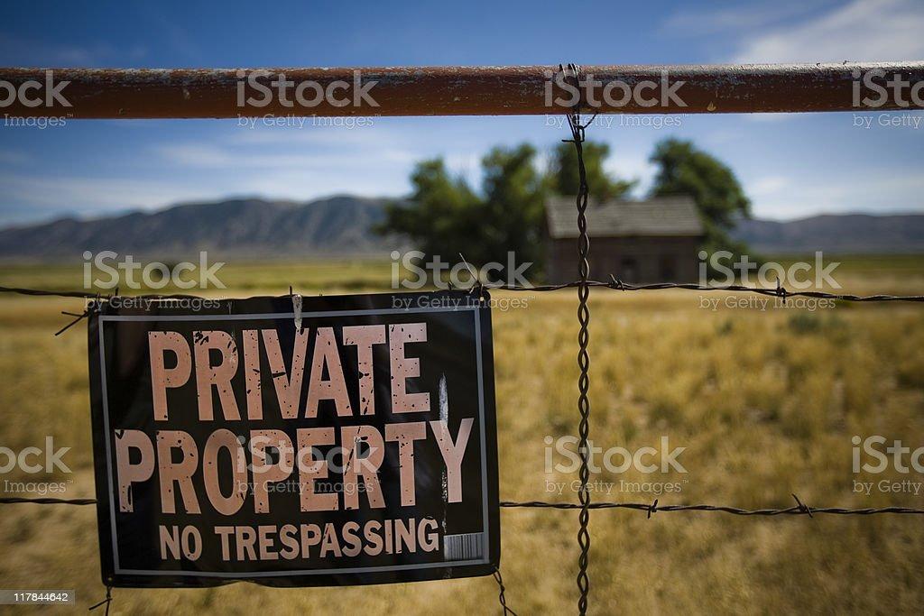 Private Property No Trespassing stock photo