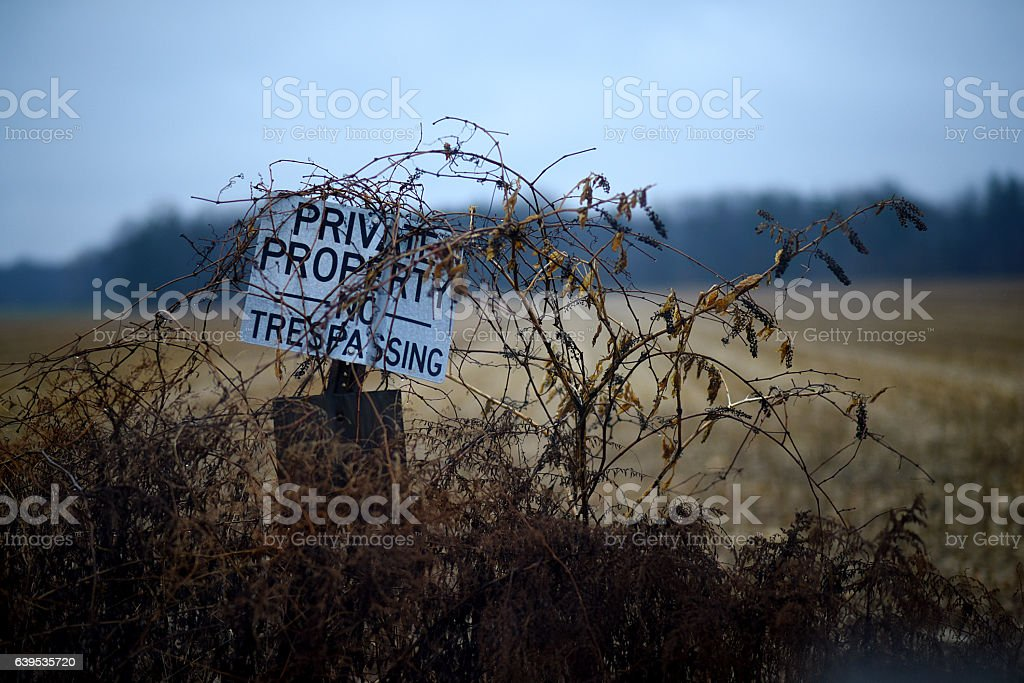 Private Property - No Trespassing Sign stock photo