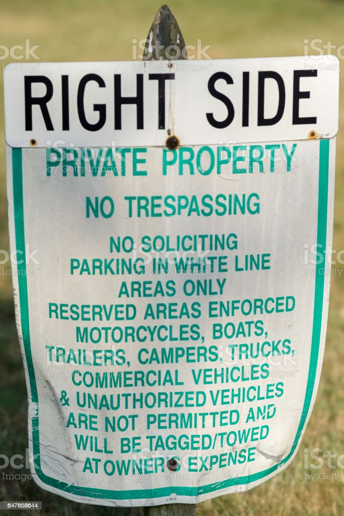 Private Property Sign on the Right Side stock photo