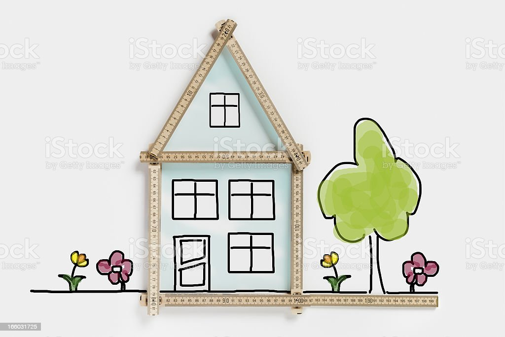 Private residential building planning (XXXLarge) vector art illustration
