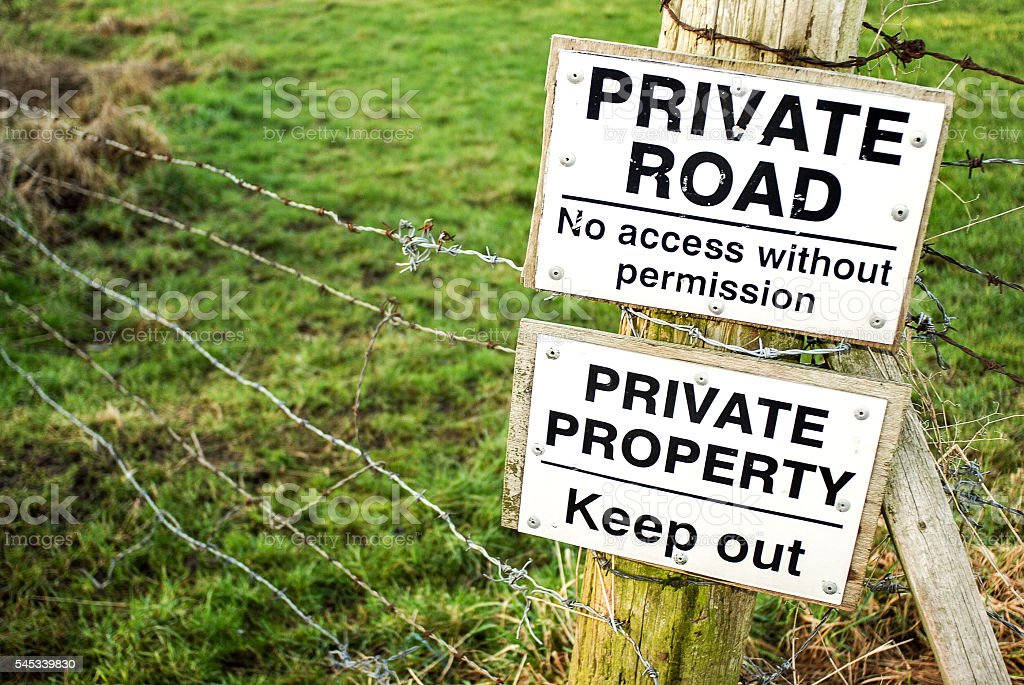 Private road and property signs stock photo