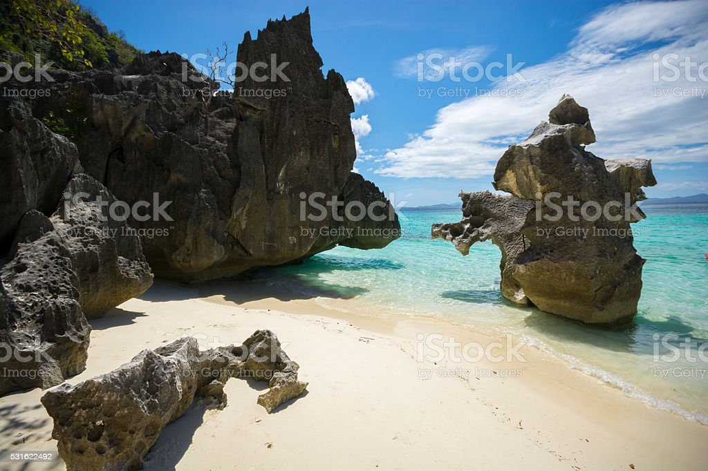 Private rocky getaway at Banol Beach, Coron, Philippines stock photo