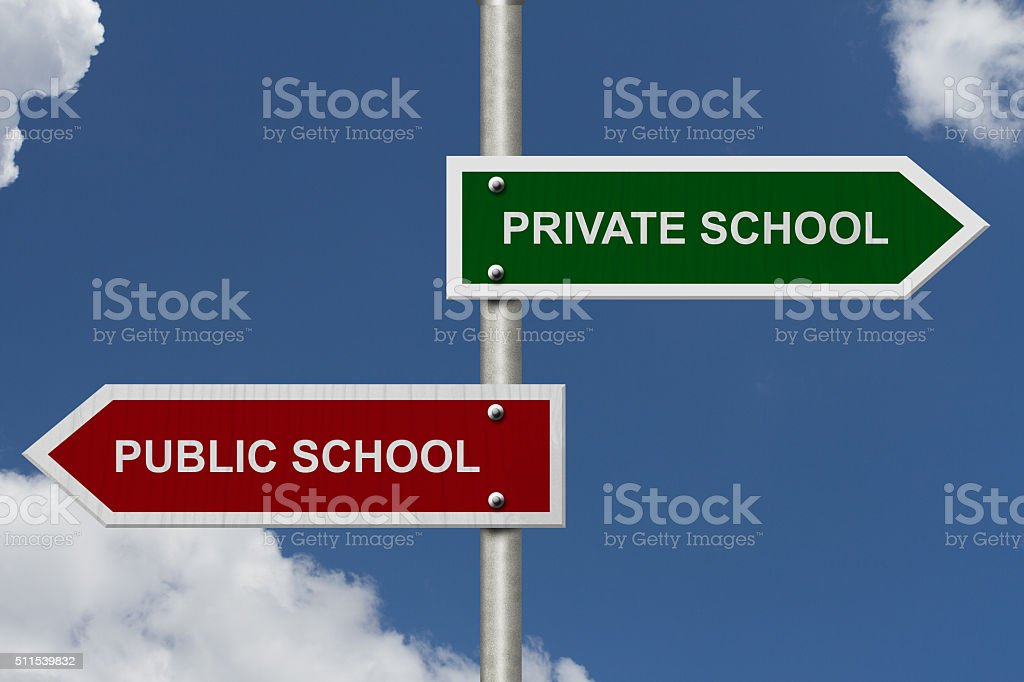 Private School versus Public School stock photo