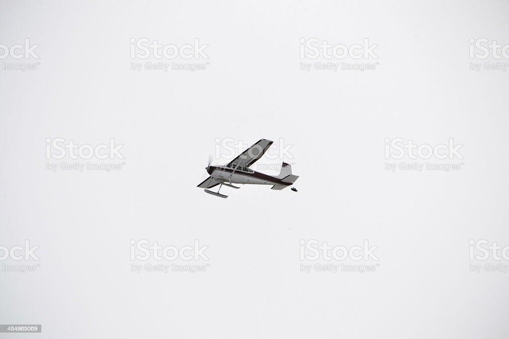 Private Ski Plane on Departure in Alaska stock photo