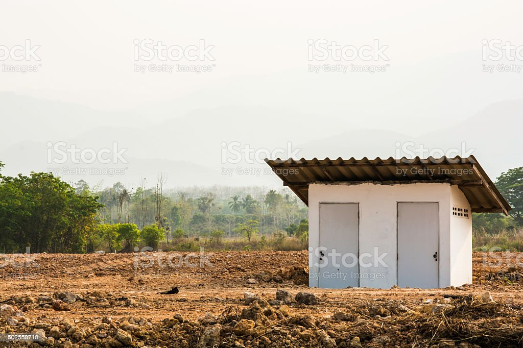 Private toilet cabin in the bare land, Thailand royalty-free stock photo