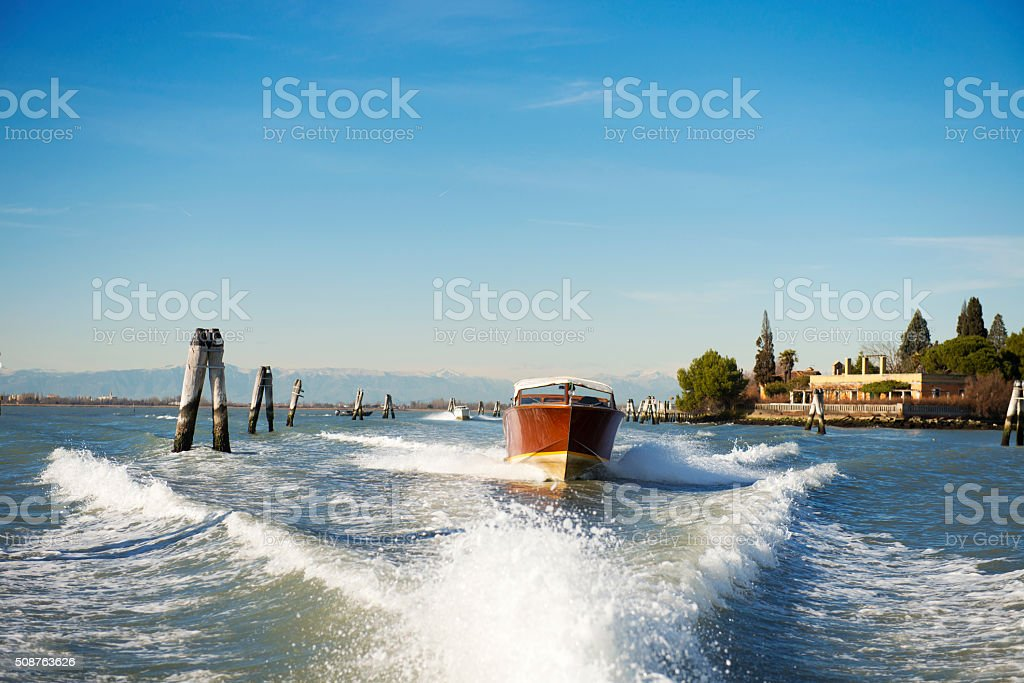 Private water taxi in Venice stock photo