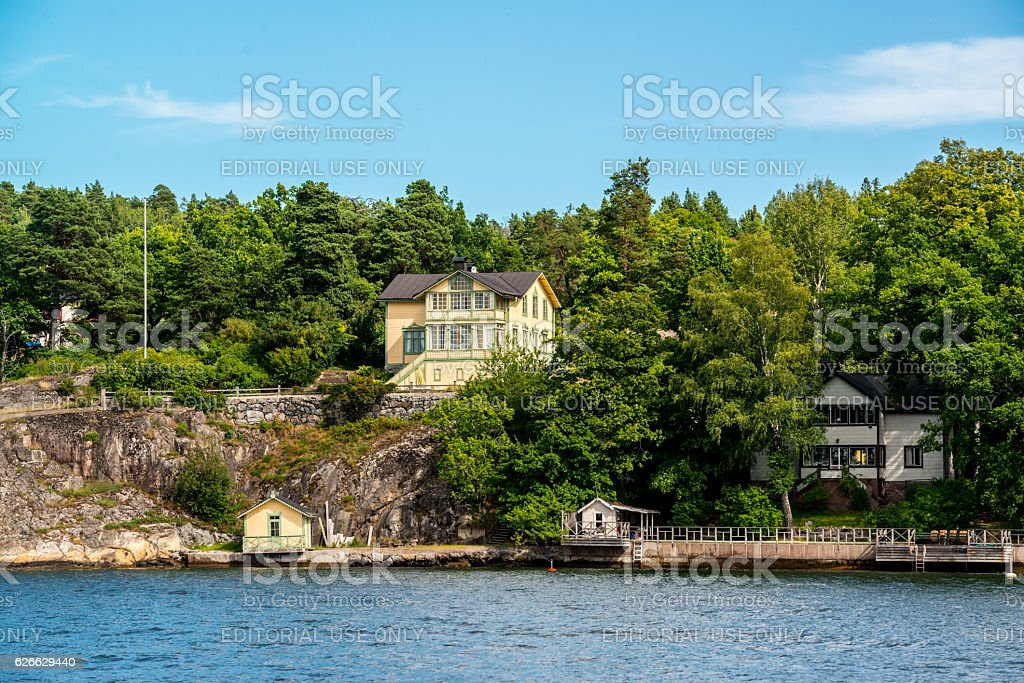 Private waterfront houses in Stockholm, Sweden stock photo