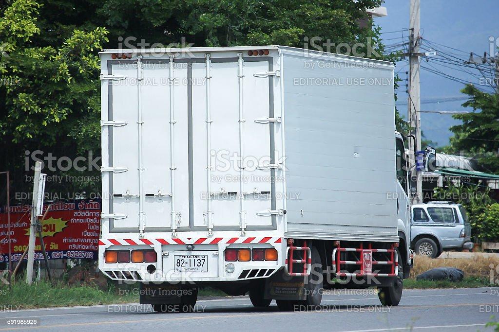 Private White container Cargo truck. stock photo