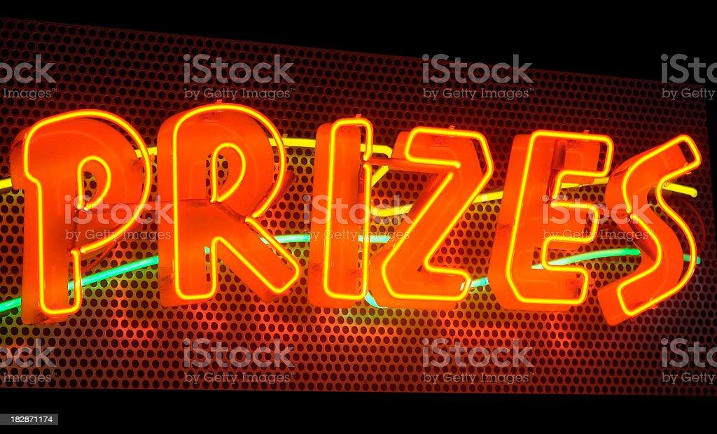 Prizes, a multicolored neon sign stock photo
