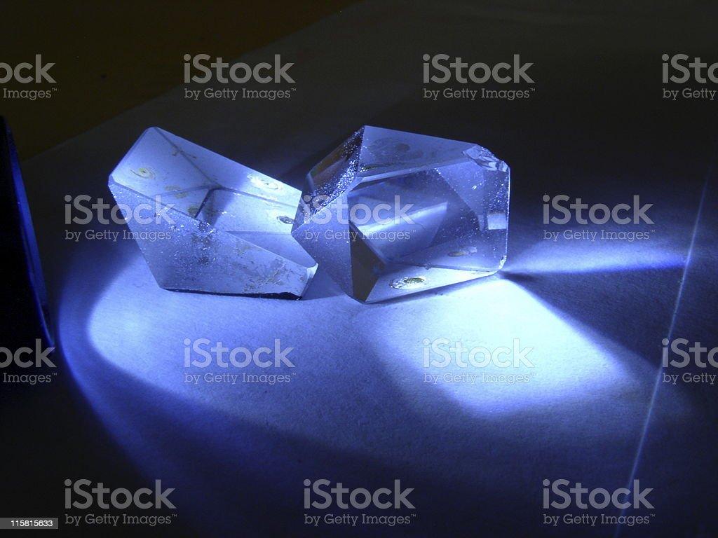 Prizms reflecting blue light royalty-free stock photo