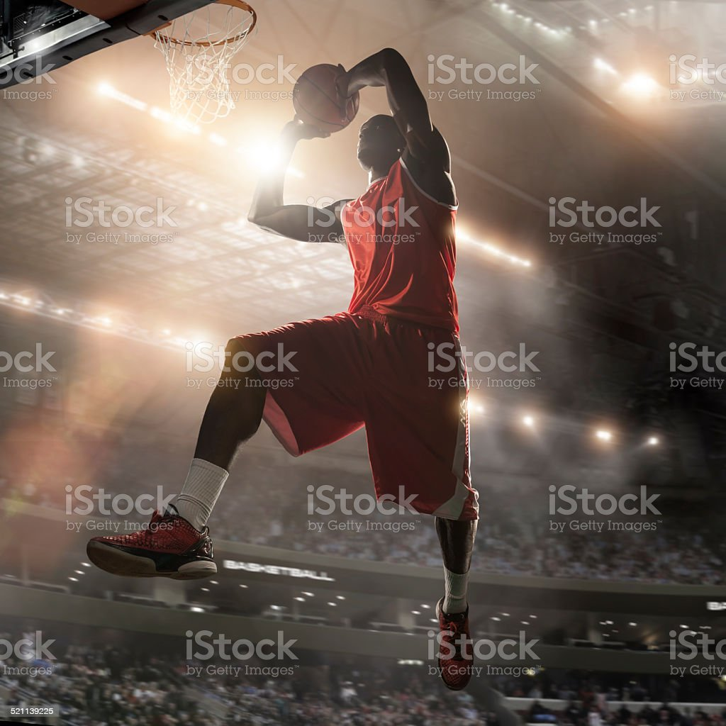Pro Basketball Player About To Dunk stock photo