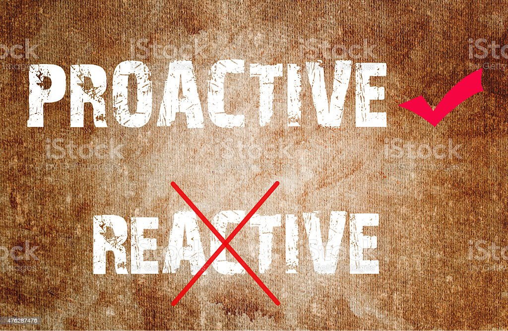 Proactive and Reactive concept text vector art illustration