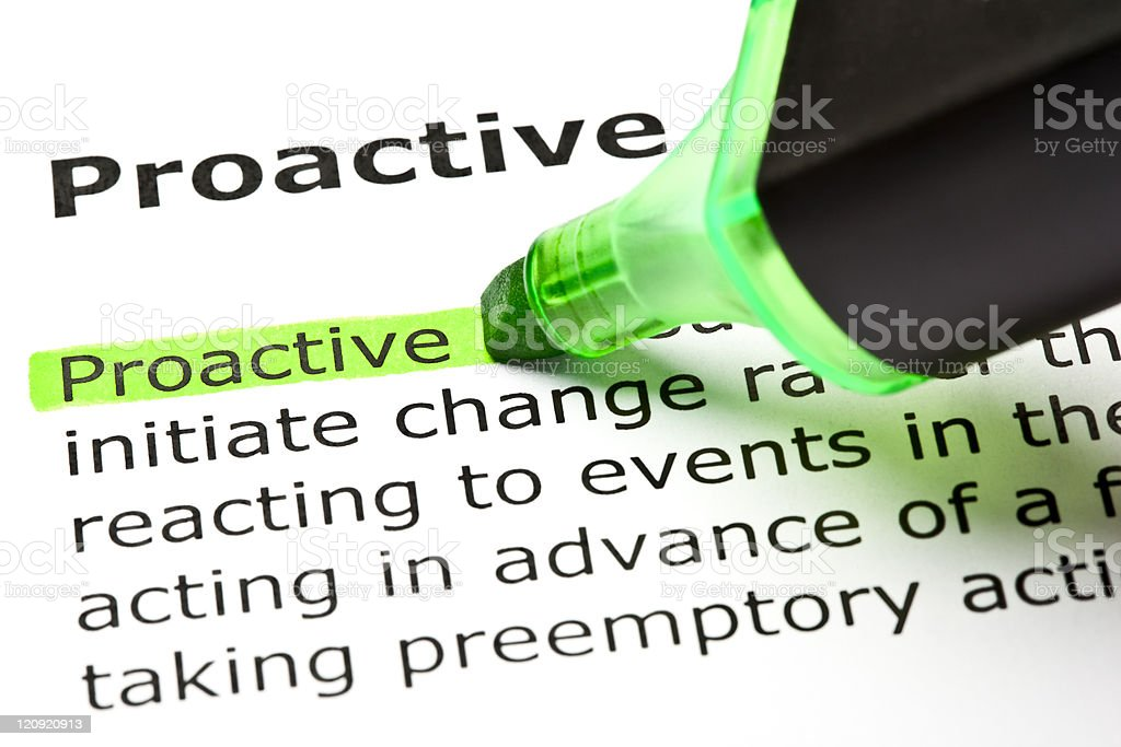 'Proactive' highlighted in green stock photo