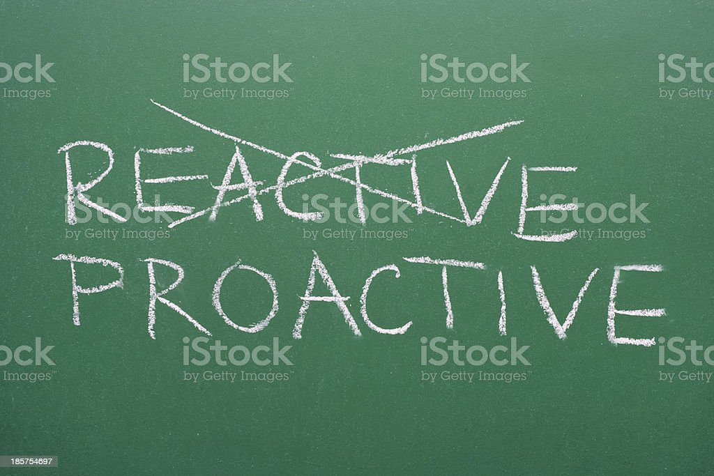 Proactive instead of reactive stock photo
