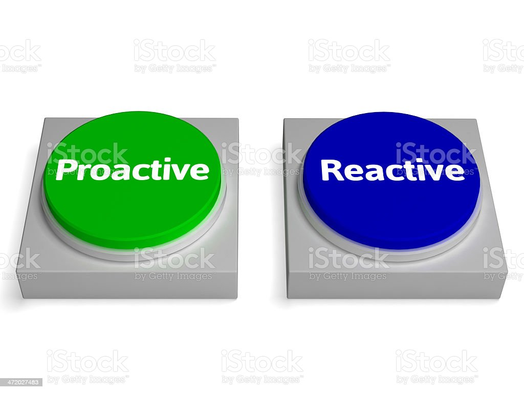 Proactive Reactive Buttons Shows Active Or Reacting stock photo