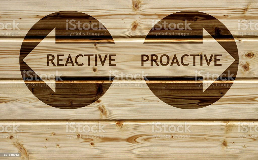 Proactive Reactive stock photo