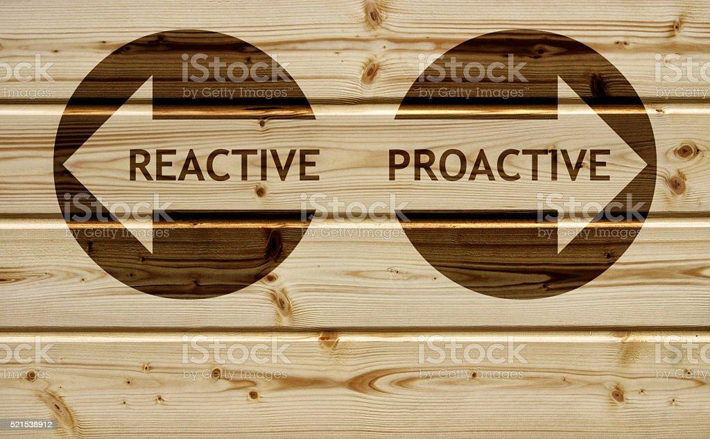 Proactive Reactive stock photo