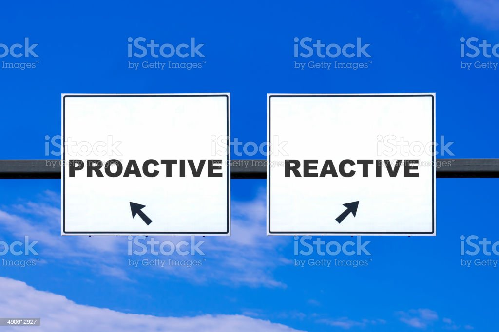 Proactive Reactive , Road Sign stock photo