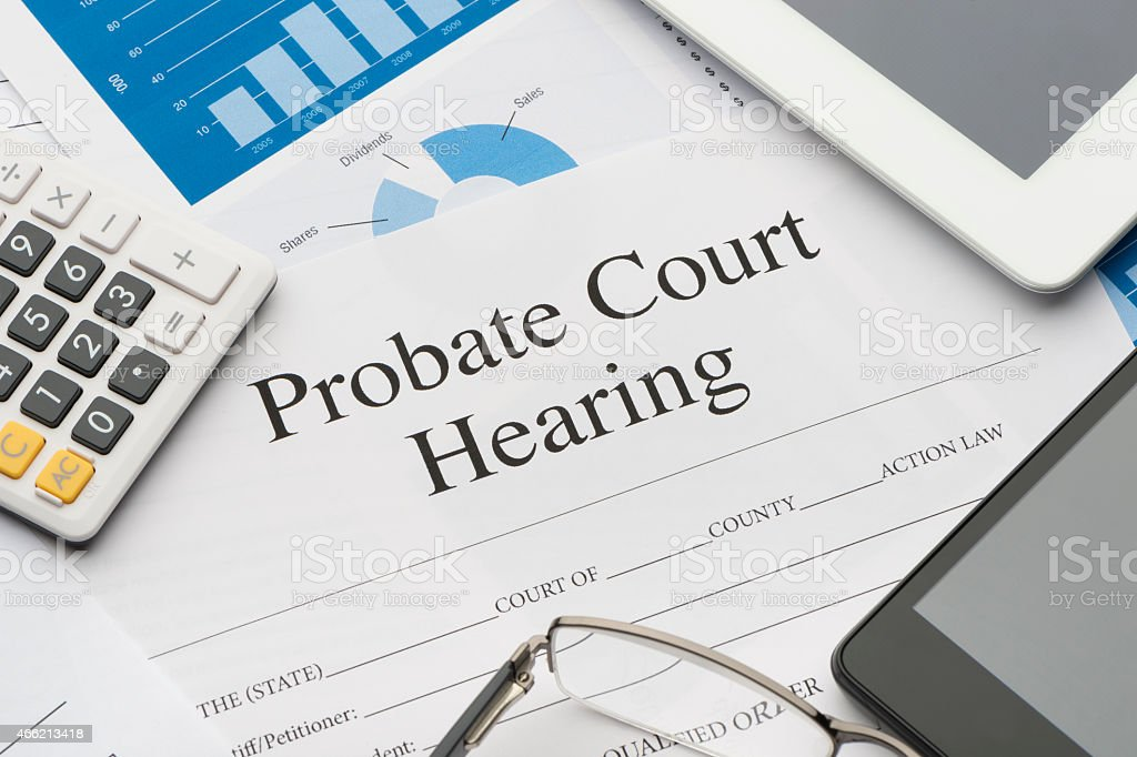 Probate court hearing form on a desk. stock photo