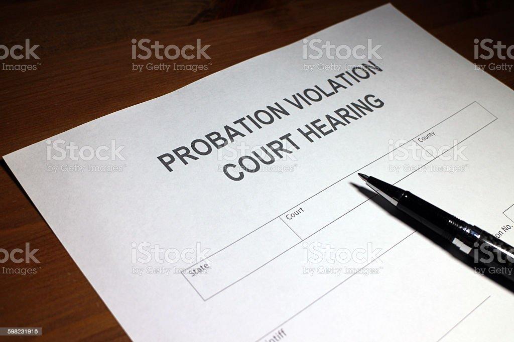 Probation Violation Document stock photo