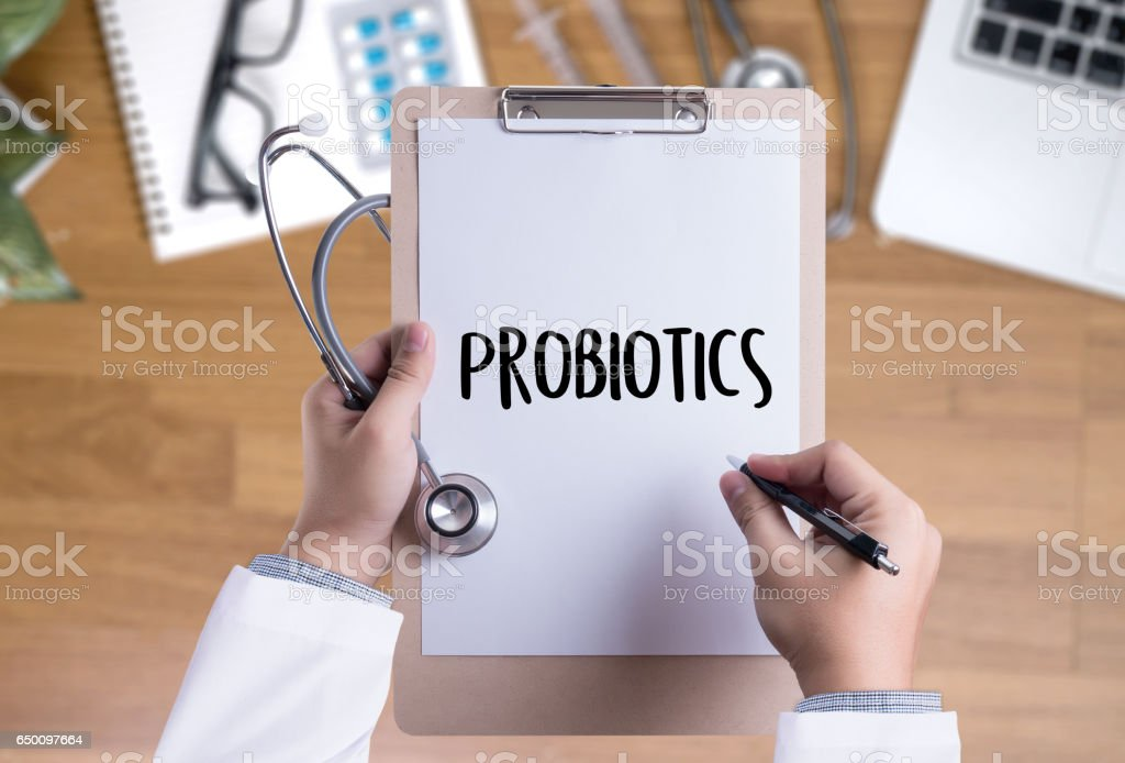 Probiotics medical equipment  eating healthy concept. stock photo