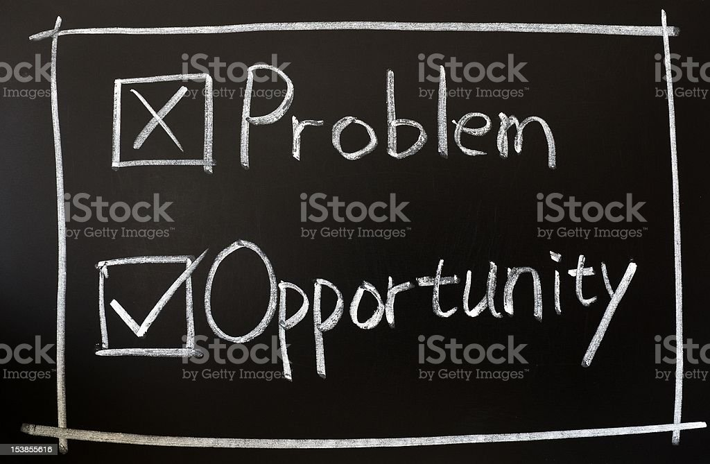 Problem and opportunity check boxes stock photo
