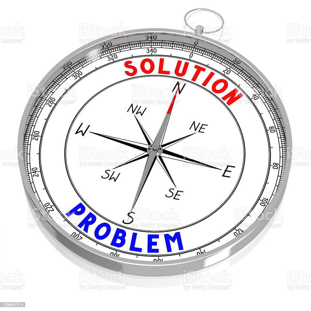 Problem and solution - 3D compass stock photo