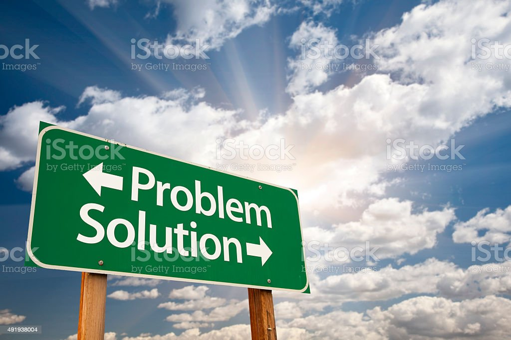 Problem and Solution Green Road Sign Over Clouds stock photo