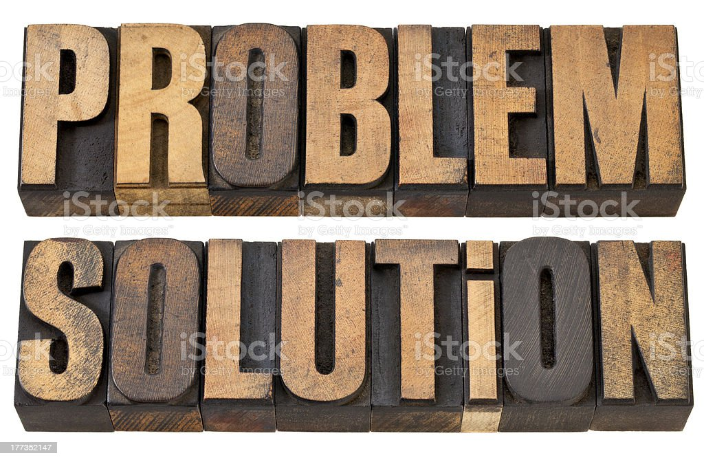 problem and solution in wood type royalty-free stock photo