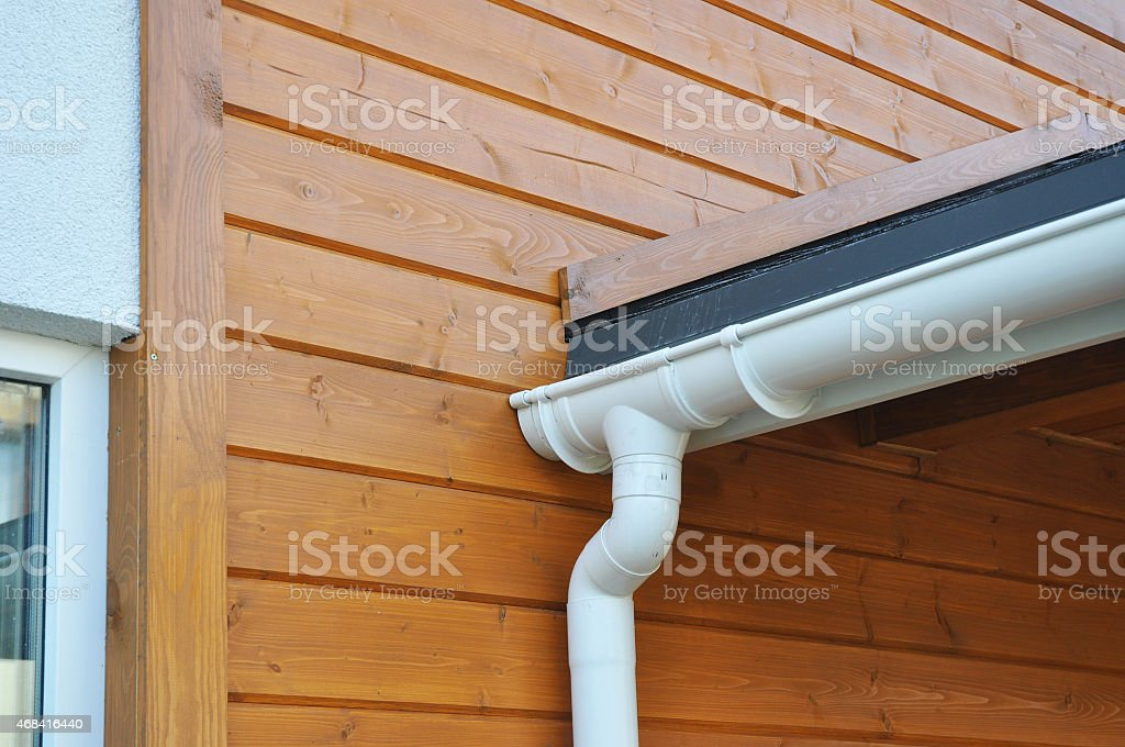 Problem areas for rain gutter waterproofing stock photo