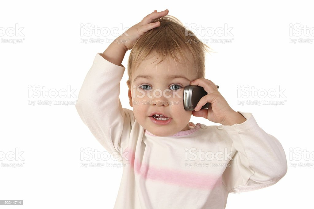 problem baby with phone stock photo