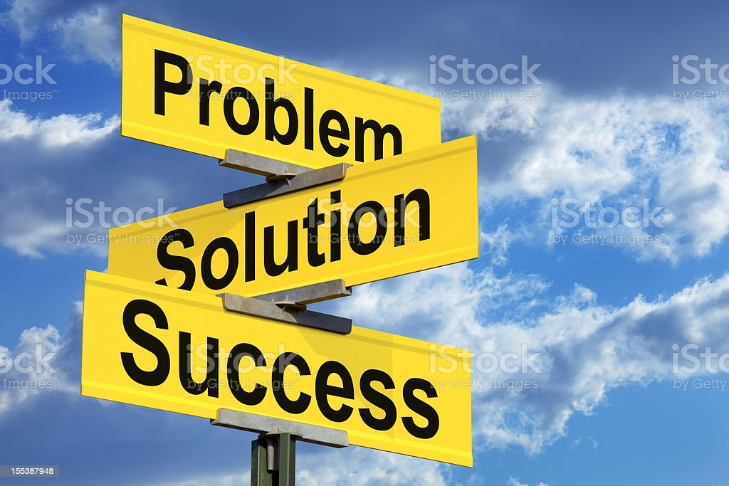 Problem, Solution, Success Street Sign royalty-free stock photo