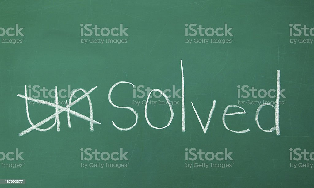 Problem Solved Chalk Drawing stock photo